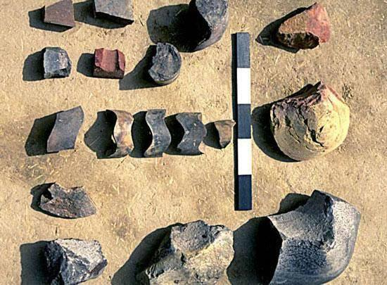 Different sizes and colors of ringstones from upper Harappa phase levels of Mound AB, Trench 39N. The smaller rings may have been used to make decorative columns while the larger ones were probably column bases.