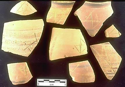 Many sherds inscribed after firing have single geometric signs. This collection of Early Harappan sherds from Periods 1 and 2 (c. 3300-2800 BC) show a range of geometric signs that are roughly similar to later signs in the Indus script.