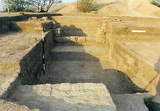 Gola Dhoro excavated gateway on eastern side of the mound.