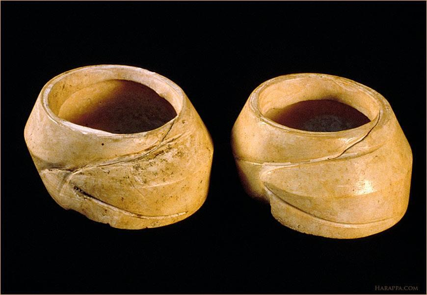 Two magnificent wide shell bangles, each made from a single conch shell (Turbinella pyrum) found at Harappa.