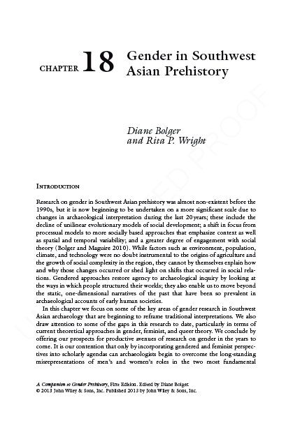 Title Page of Gender in South West Asia article