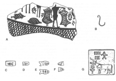 An image of several (sketched) Harappan artifacts (fishhook, fish motif, etc.)