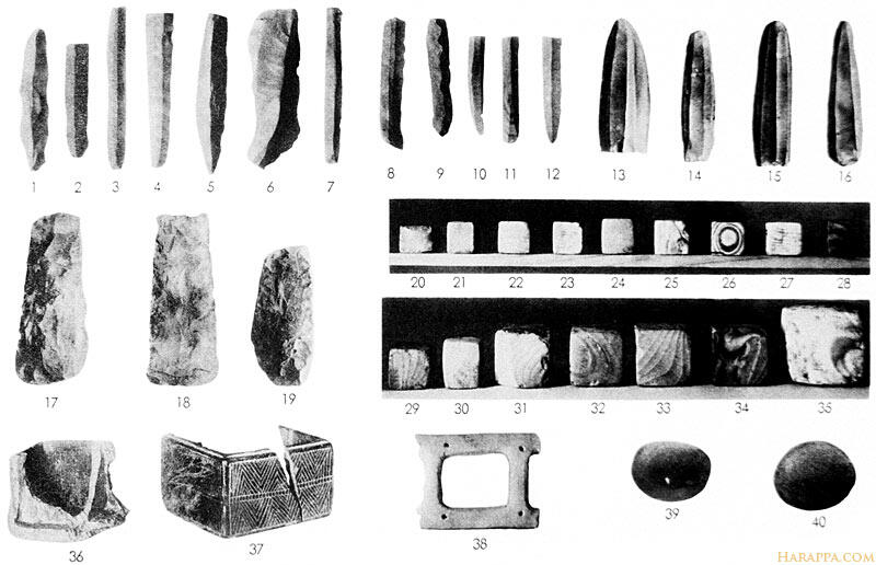 Indus Household objects. Flint Implements, Weights