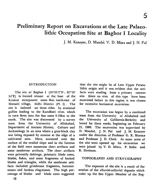 Preliminary Report on Excavations at the Late Paleolithic Occupation Site at Baghor Locality