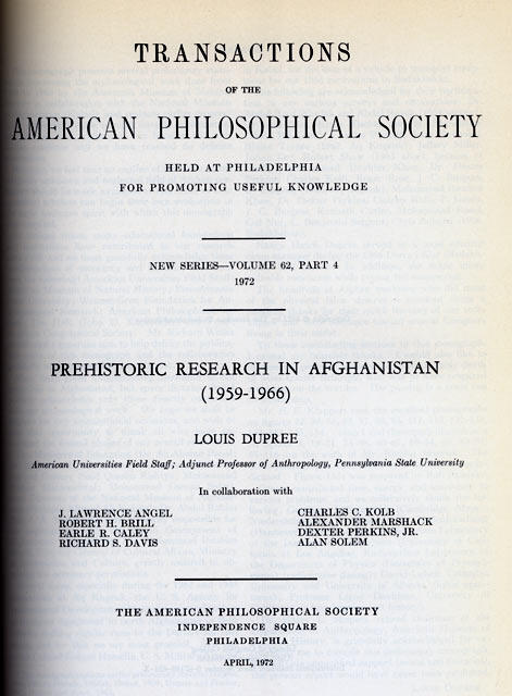 Prehistoric Research in Afghanistan (1959-1966)