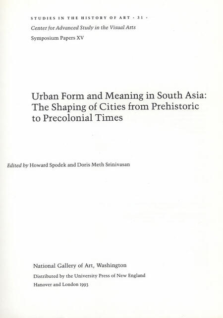 Urban Form and Meaning in South Asia by