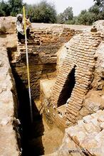 Excavated by the Harappa Archaeological Research Project in 1993, this large corbeled drain was built in the middle of an abandoned gateway at Harappa to dispose of rainwater and sewage.