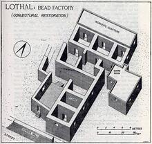 """""""A mud-brick structure consisting of a central courtyard and elven rooms of varying sizes was built in Block F on the western flank of the Acropolis. It served as a bead factory where several lapidaries worked together on a central platform and lived in the rooms built around it. A couple of store-rooms and a guard room were also provided within the factory premises."""" ((S.R. Rao, Lothal and the Indus Civilization, p. 68)."""