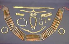 Fired steatite was an important material used in many different types of Indus jewelry. Steatite beads are found in all four necklaces in the center of this collection of jewelry from Harappa and Mohenjo-daro.